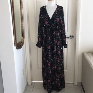 Lilian black sheer bird &floral print maxi